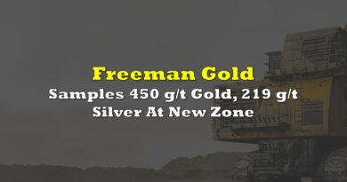 Freeman Gold Samples 450 g/t Gold, 219 g/t Silver At New Zone